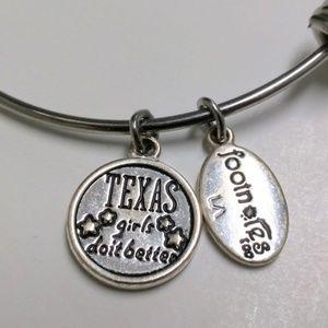 Texas Girls Love Notes charm bracelet heart
